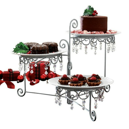 3 Tier Elegant Clear Beaded Swivel Silver Triple Dessert Cake Stand Wedding Party Server, 12 3/4 Inches Length by 7 3/4 Inches Width by 15 Inches Height CTD.., By CT DISCOUNT STORE