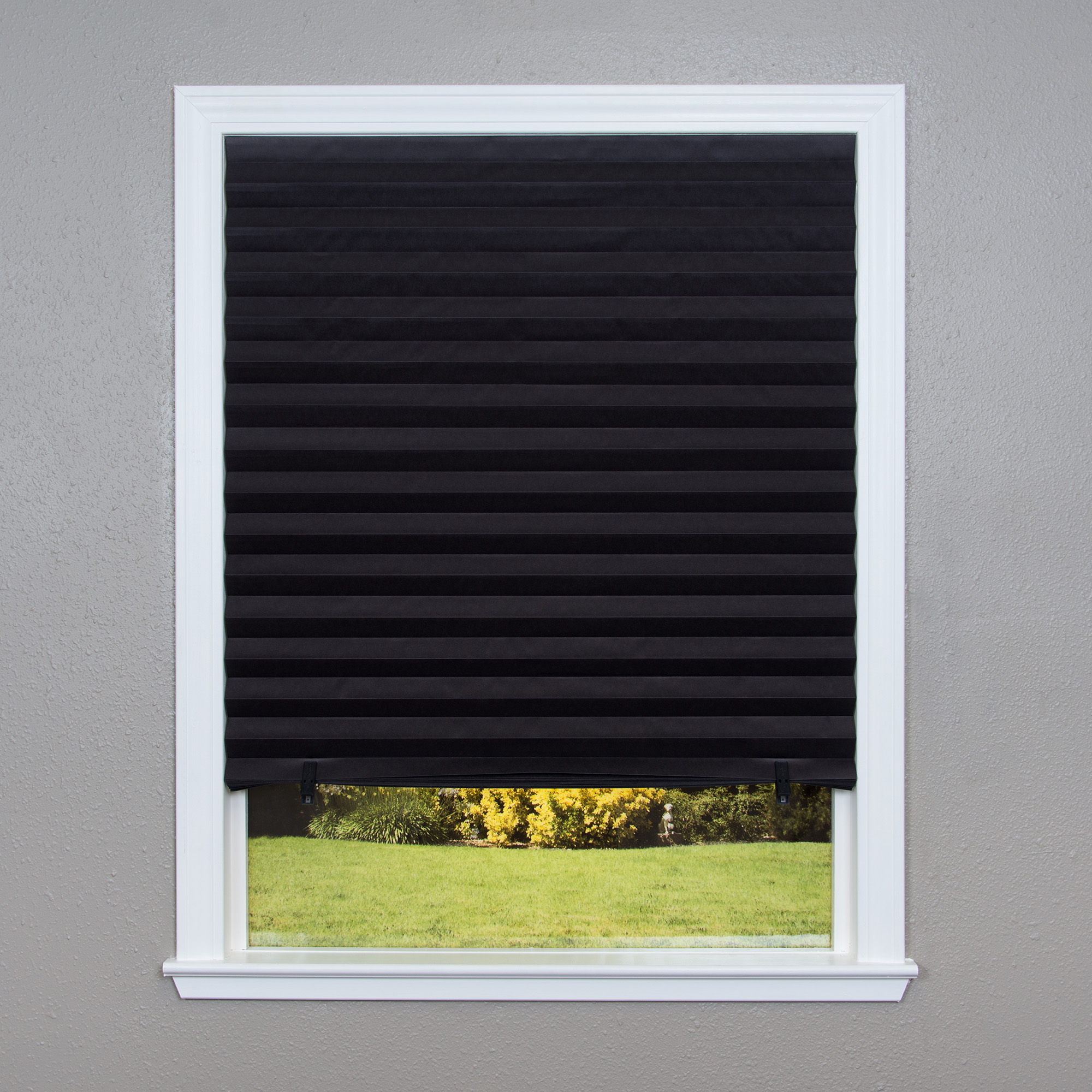 Original Blackout Pleated Paper Shade Black, 6 Pack