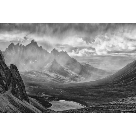 Black And White Image Of A Rain Storm Over The Tombstone Valley In Tombstone Territorial Park With Tombstone Mountain Shrouded In The Rain In The Distance Yukon Canada Posterprint