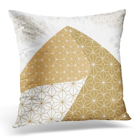 ECCOT Abstract Japanese Pattern Gold Geometric Folding Shape Like Mountain for Page Design Pillowcase Pillow Cover Cushion Case 16x16 inch ()