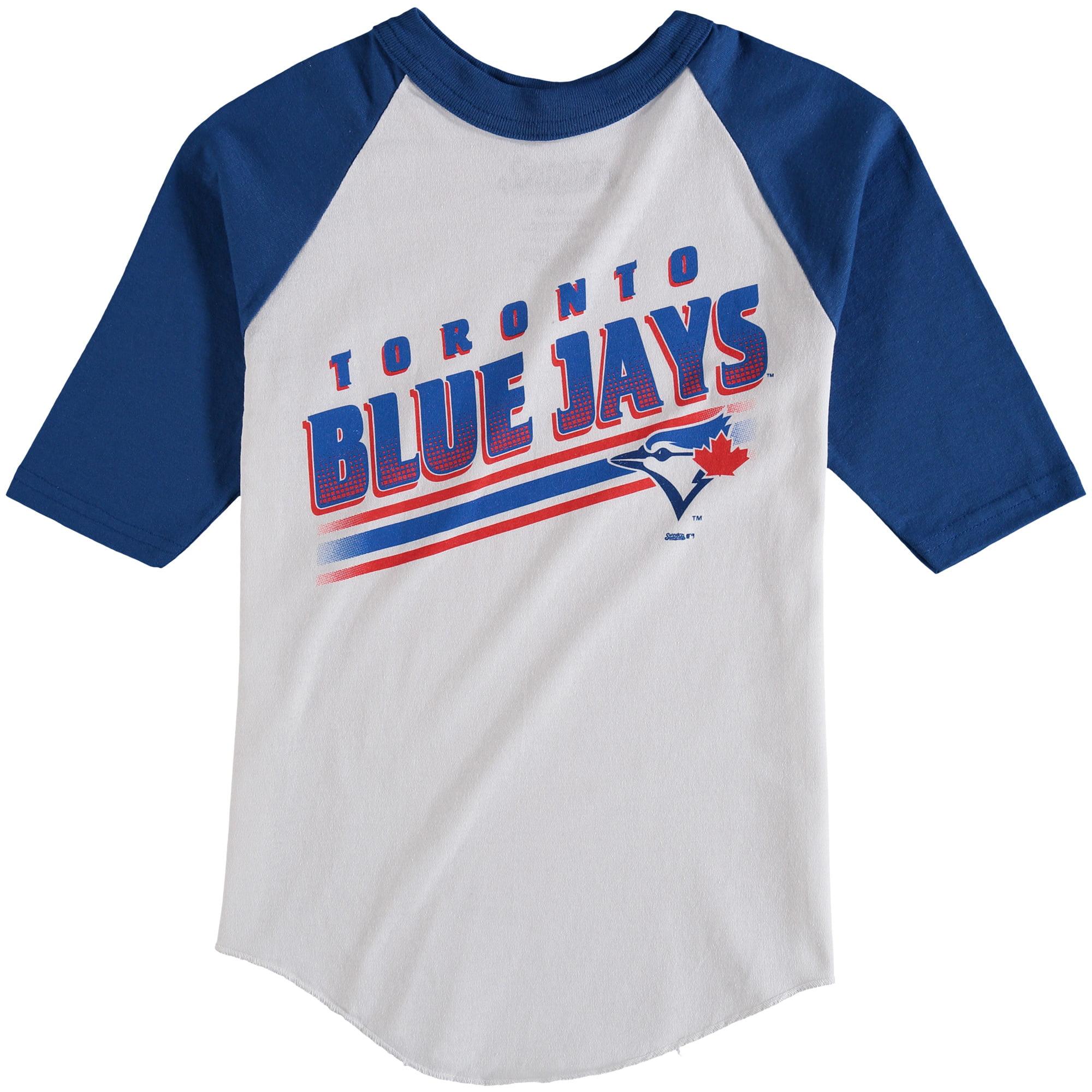 Toronto Blue Jays Stitches Youth 3/4-Sleeve Raglan T-Shirt - White/Royal
