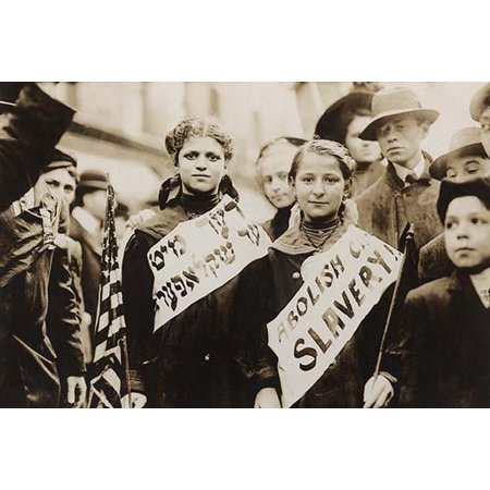 1909 Pa (half-length portrait of two girls wearing banners with slogan ABOLISH CHILD] SLAVERY in English and Yiddish one carrying American flag spectators stand nearby Probably taken during May 1 1909 labor pa )