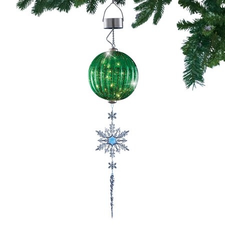 Festive Shimmering Ornament with Crystal Snowflake & Icicle Solar Powered Hanging Light ()