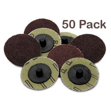 Roll Lock Sanding/Grinding Discs -50 Pieces - 2 inch 36 Grit -For Use With Drill 2 Piece Drilled Discs