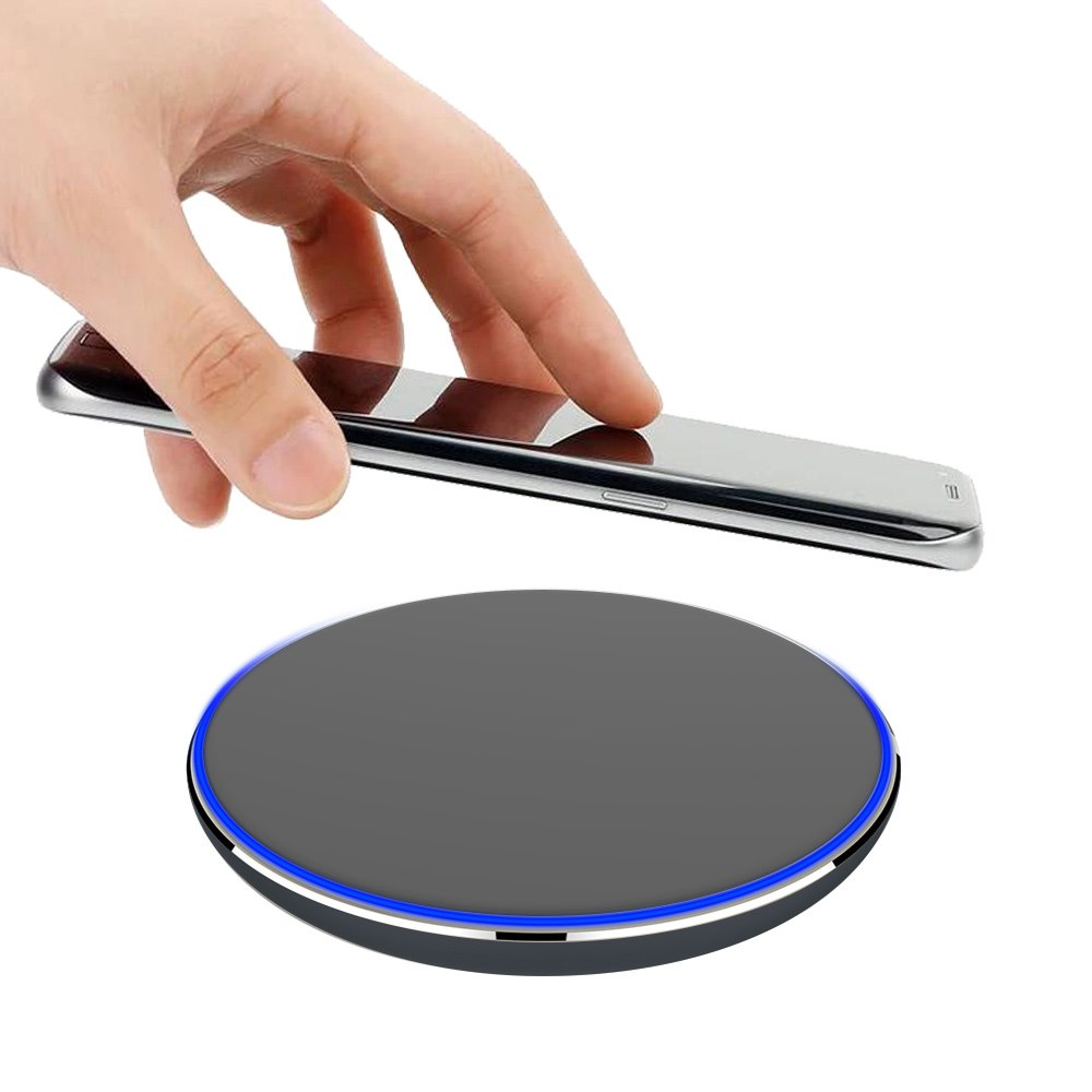 Luxmo Fast Wireless Charging Charger Pad Ultra-Thin Slim Design for Qi Compatible Smartphones iPhone 8/8 Plus/X/XS/XS Max/XR Samsung Galaxy S9/S9 Plus/S8/S8 Plus/S7/Note 8/-BKGY