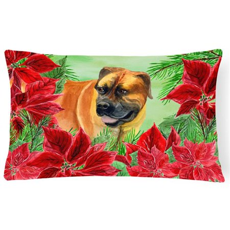 Carolines Treasures CK1295PW1216 Boerboel Mastiff Poinsettas Canvas Fabric Decorative Pillow - image 1 of 1