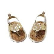 Baby Girls Gold Sparkle Metallic Flower Strap Flip Flop Sandals 12-18M