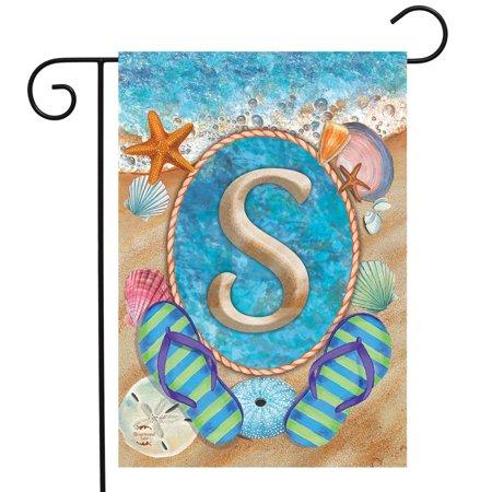 Summer Monogram Letter S Garden Flag Flip Flops Seashells 12.5