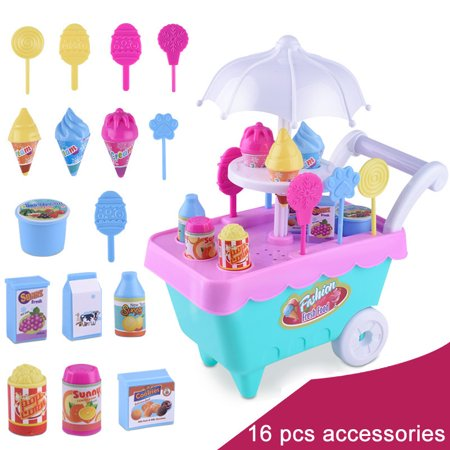Rotating Ice Cream Cart Toy Candy Cart Pink Miniature Sweet Shop Supermarket Trolley Toys for Boys Girls Child Children Birthday Gift - Shop Kids Toys