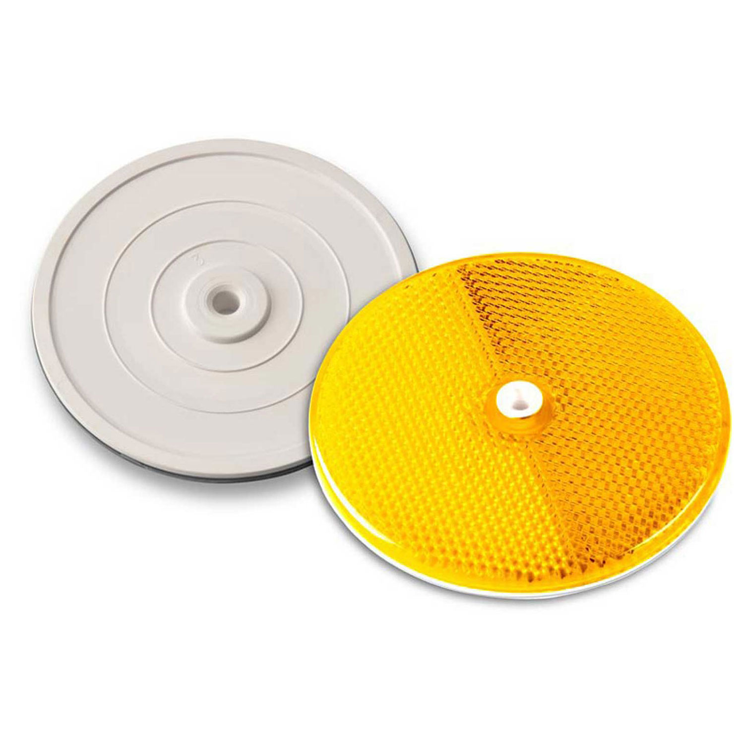 """3-1/4"""" Amber Reflector,Tapco, Centermount, 102222, Plastic Backplate, RT-90A, Lot of 1"""