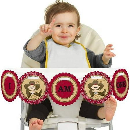 Little Cowboy - Western 1st Birthday - I Am One - First Birthday High Chair Banner - Western Birthday Theme