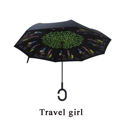 Rain Protection Windproof Folding Reversible Umbrella C-Handle Double Layer Upside Down Inverted Self (Reversible Umbrella)