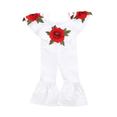 Baby Girls Off Shoulder 3D Rose Romper Halter Jumpsuit Bell-Bottomed Pants Summer Cotton Clothes ()