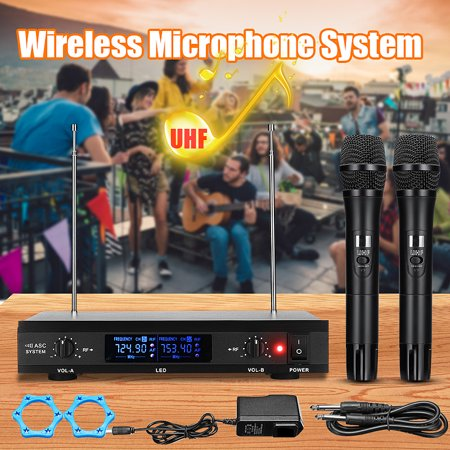 Wireless Microphone System UHF Professional Handheld Megaphone Karaoke Speech Singing Machine 2x Mic Cordless Receiver Uhf Wireless Karaoke Microphone System