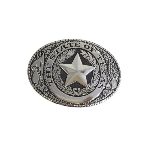 Western Belt Buckle Oval State of Texas Seal Nickle Over Black Fits 1 1/2
