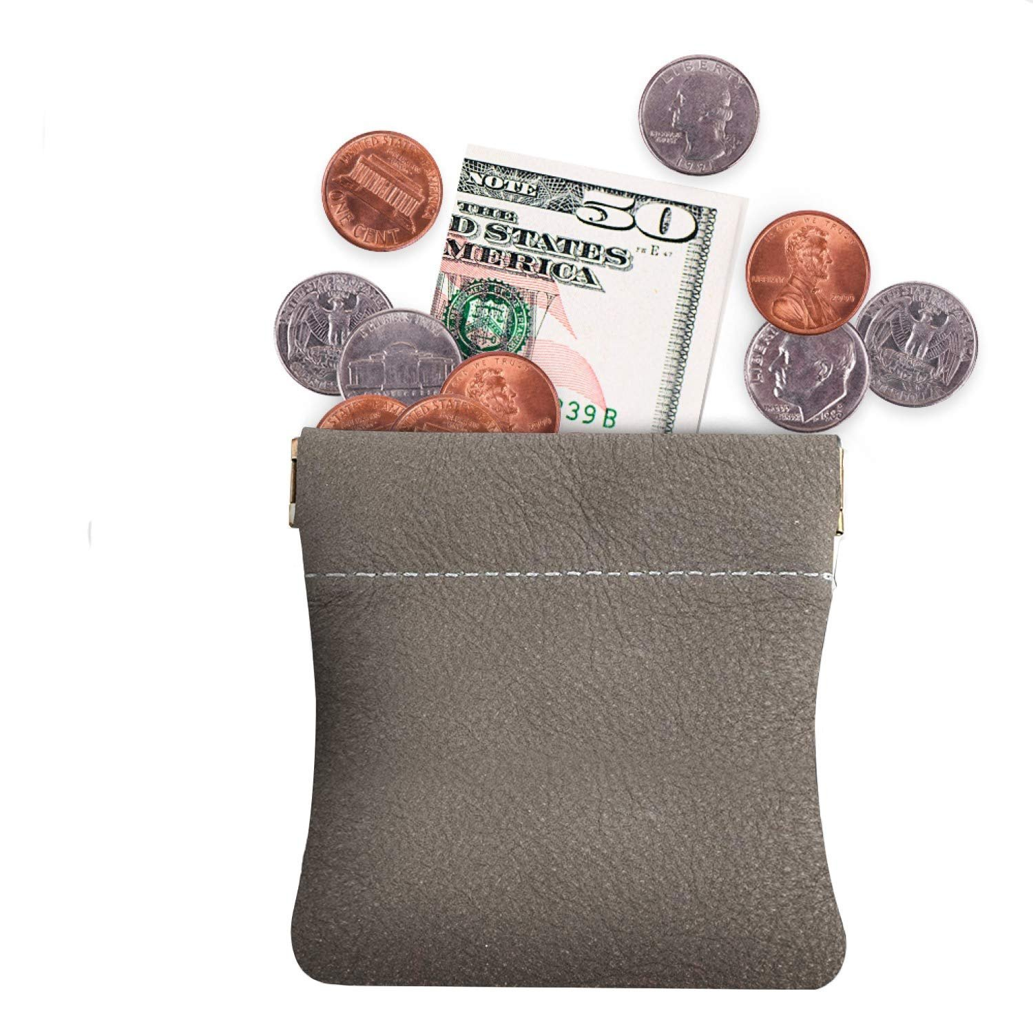 Change ... Nabob Leather Genuine Leather Squeeze Coin Purse Pouch Made IN U.S.A
