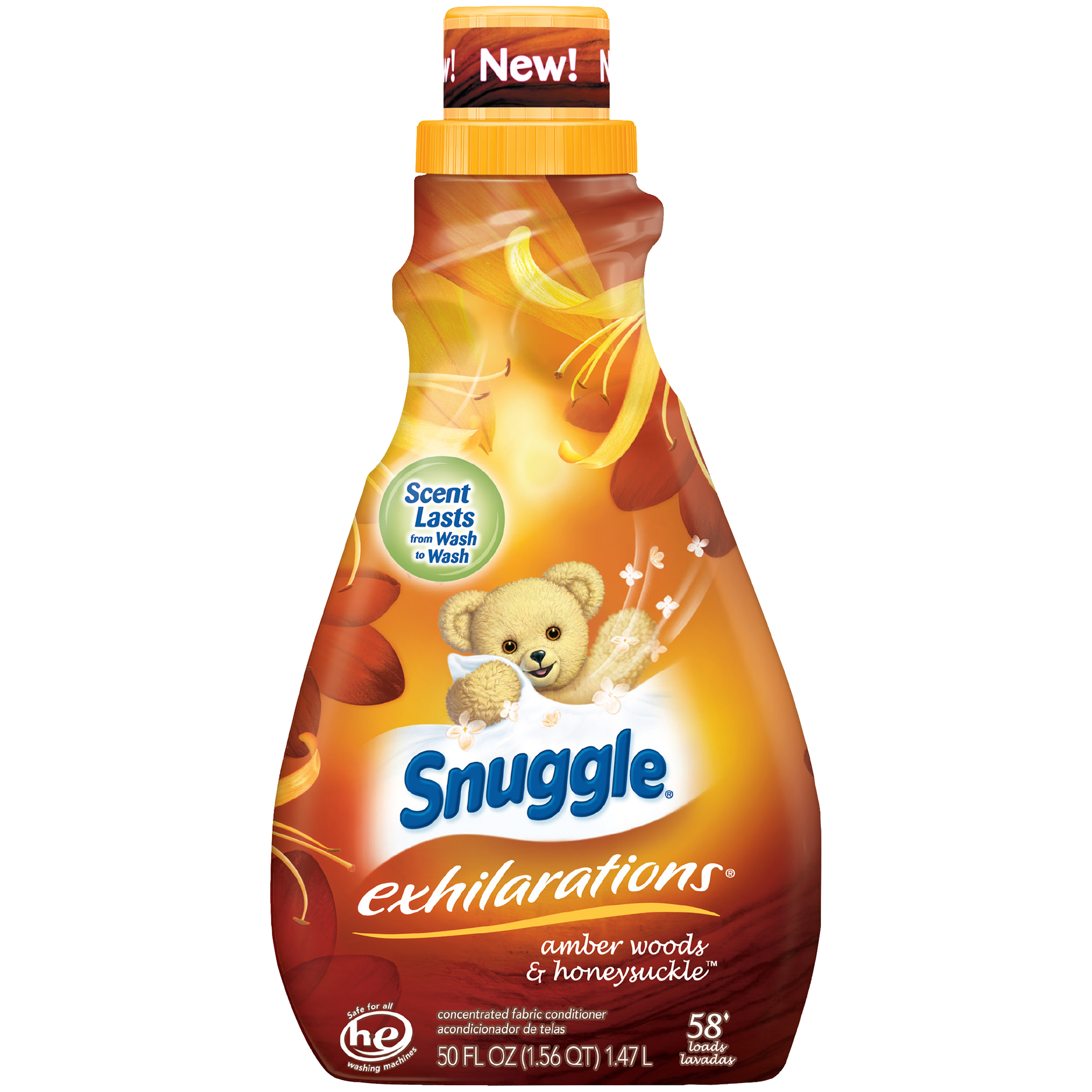 Snuggle Exhilarations Liquid Fabric Softener, Amber Woods & Honeysuckle, 50 Ounce, 58 Loads
