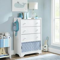 Better Homes & Gardens Cartwheel 3-Drawer Dresser, White, With Chevron Pattern