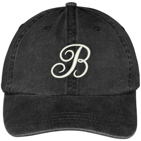 Trendy Apparel Shop Letter B Script Monogram Font Embroidered Washed Cotton Cap - Monogram Script Font