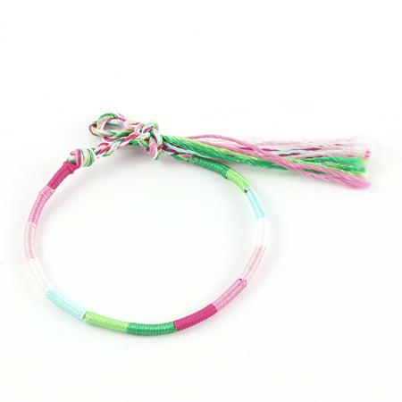 Lady Multicolor Hand Braided Knot Nylon Charm Wrist Bracelet