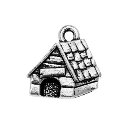 TierraCast Charm, Dog House 15x15.5mm, 1 Piece, Antiqued Silver Plated