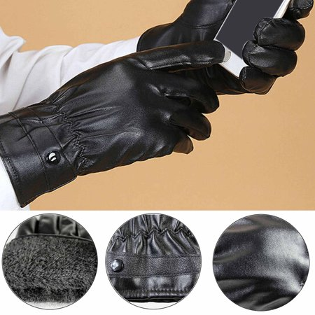 Pu Leather Gloves Winter Coral Fleece Touch Screen Gloves