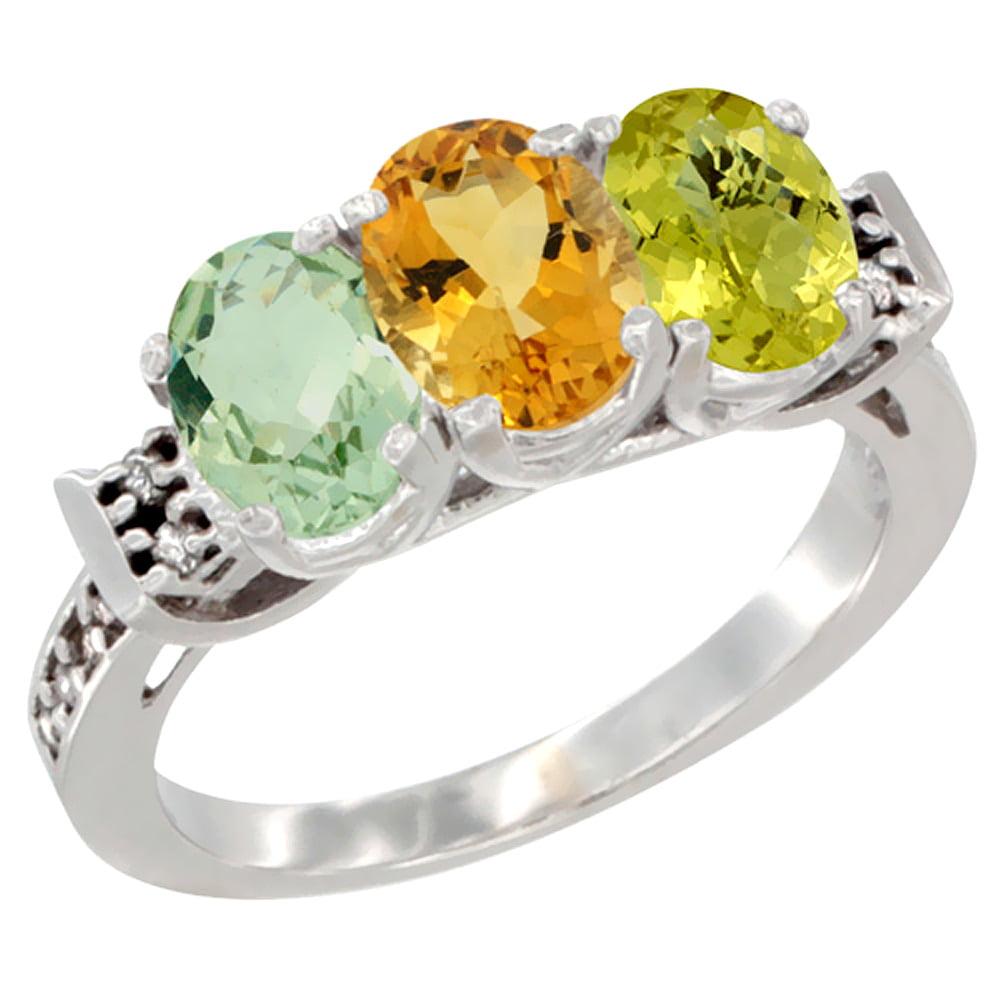 10K White Gold Natural Green Amethyst, Citrine & Lemon Quartz Ring 3-Stone Oval 7x5 mm Diamond Accent, sizes 5 10 by WorldJewels