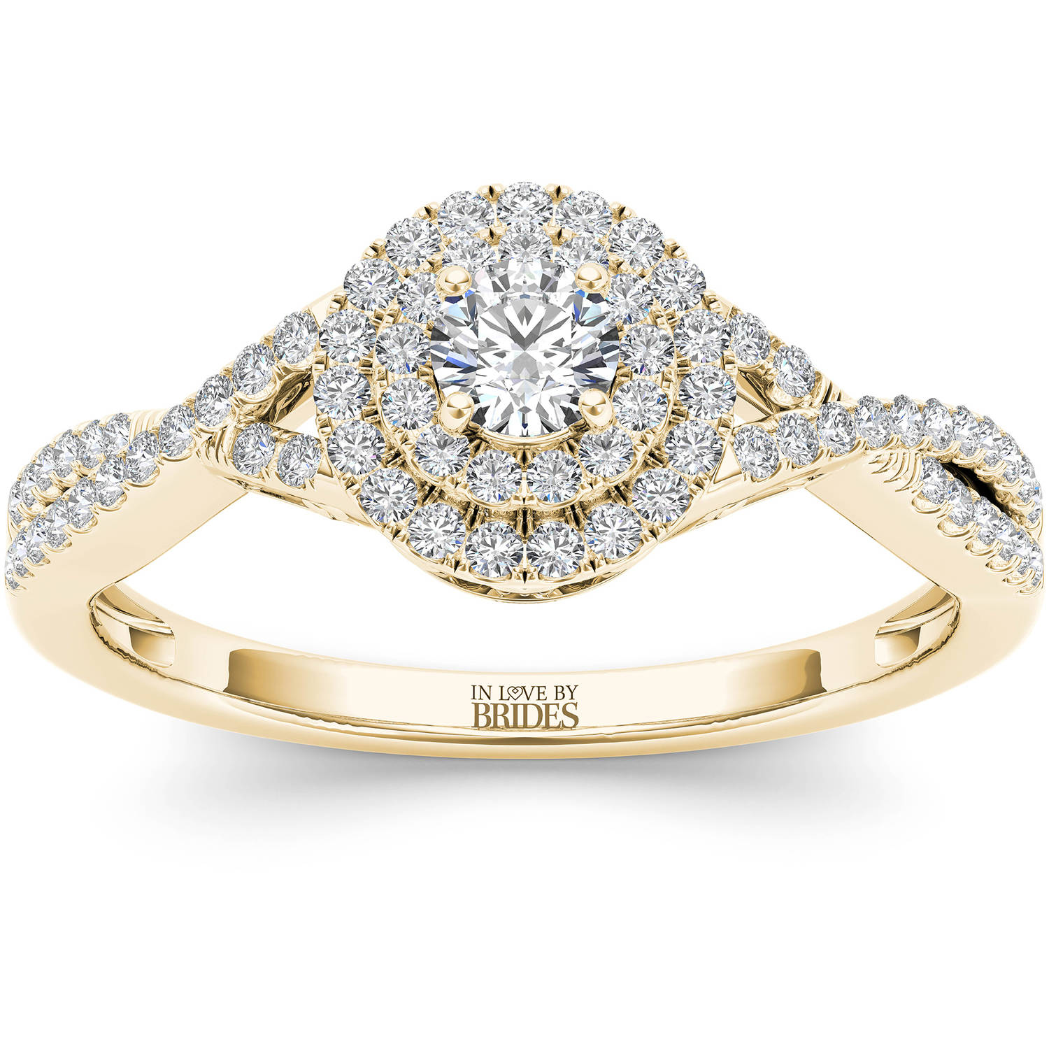 IN LOVE BY BRIDES 3/8 Carat T.W. Certified Diamond Twisted Shank Double Halo 14kt Yellow Gold Engagement Ring