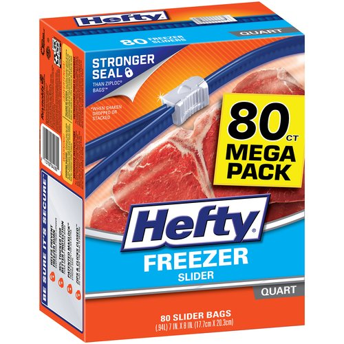 Hefty Slider Freezer Bags, Quart, 80 Ct