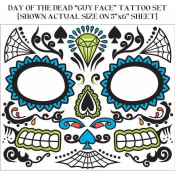 DAY OF DEAD TATTOO FACE-MALE](31 Dollar Halloween Tattoos)