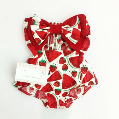 0-24M Cute Baby Girl Wrap Chest Romper Newborn Baby Girl Watermelon Printed Tube Top Jumpsuit Summer Sleeveless Jumpsuit