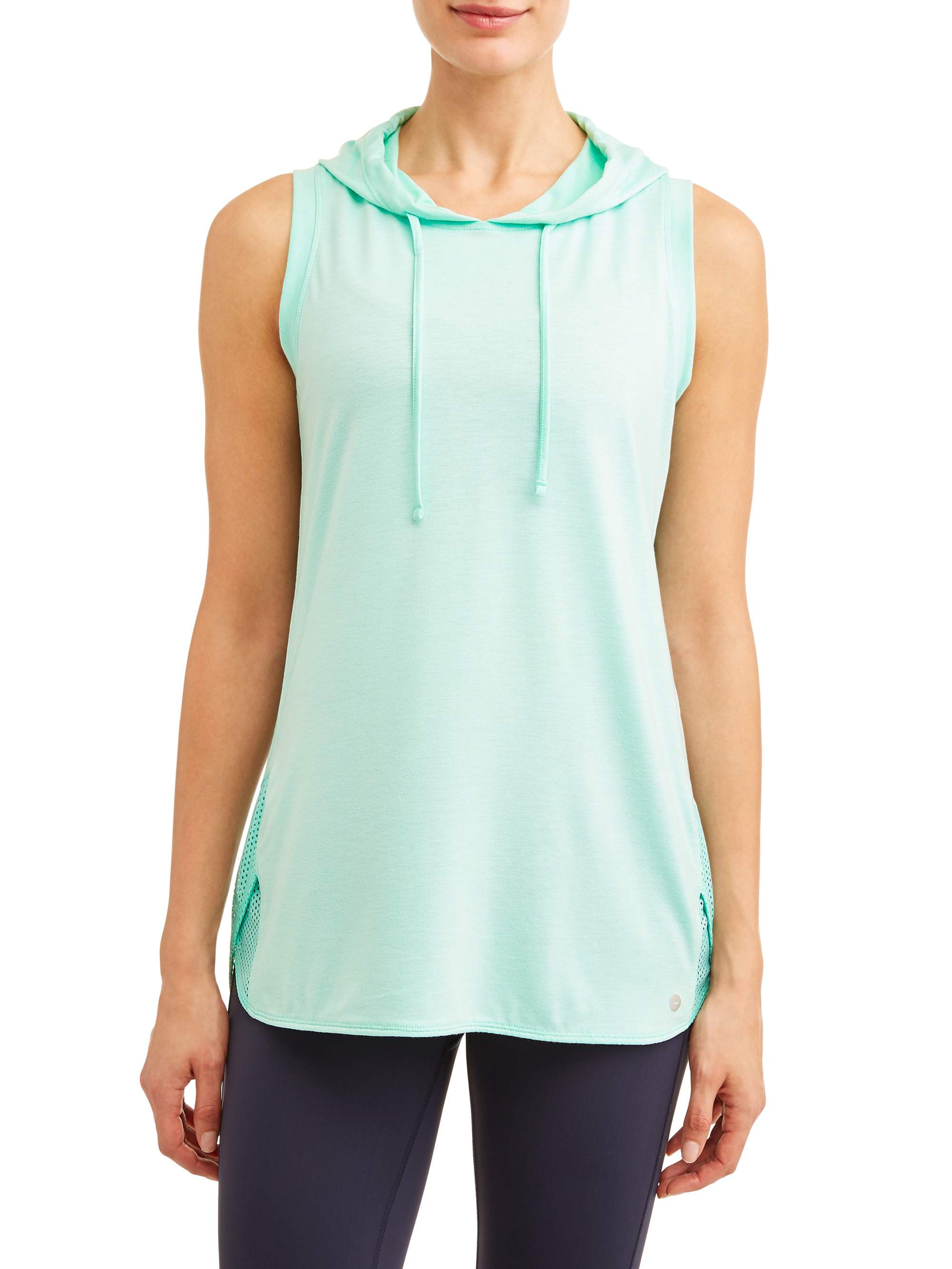 Women's Active Sleeveless Hoodie - Mesh Racerback Pullover Top