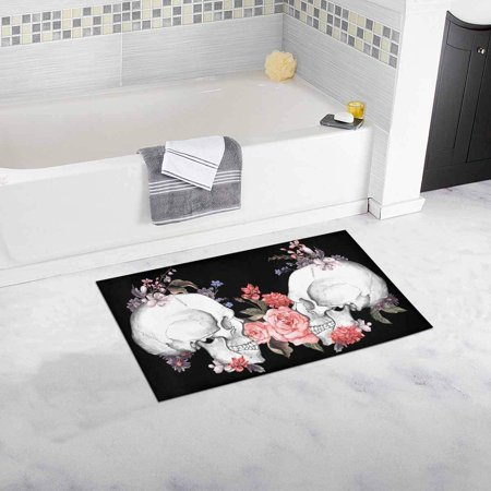 Skull Door Mat (CADecor Watercolor Flower With Nice Skull Bath Rug Doormat Floor Rug 30x18)