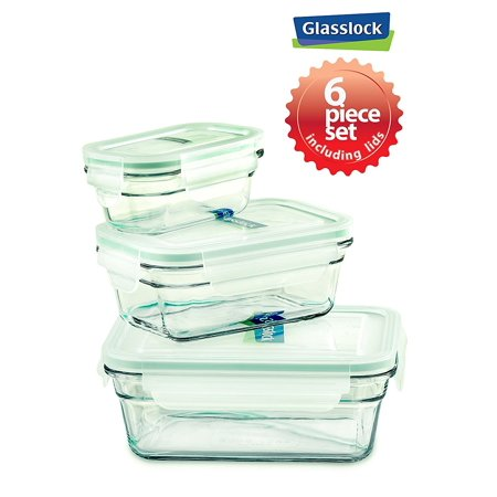 6 Piece Rectangular Set - Glasslock Clear Rectangular Airtight Storage Containers 6 Piece Set