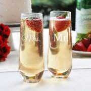 Cathys Concepts MM1228-2 Mr. & Mrs. 2 Stemless Champagne Toasting Flutes - Set of 2