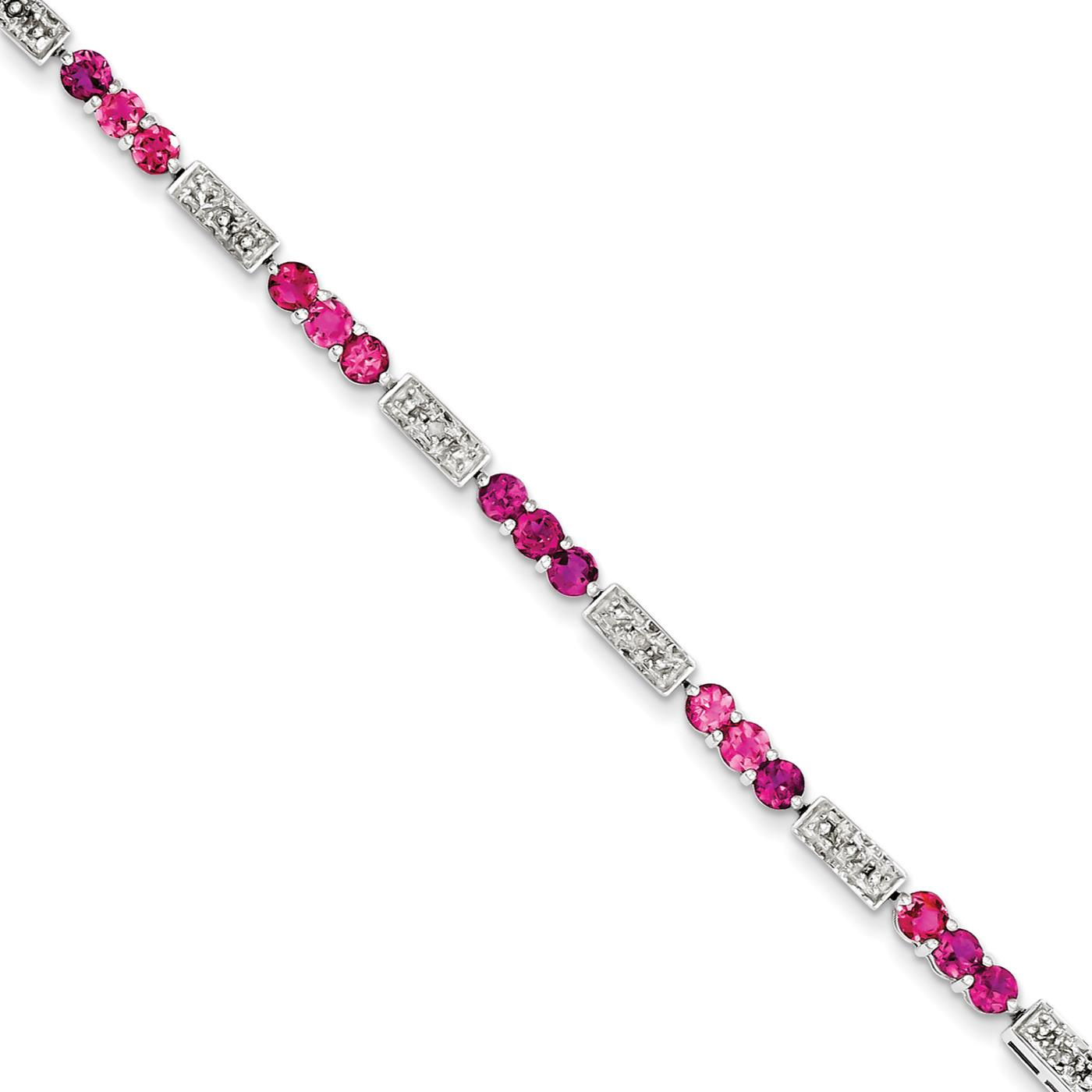 "Ladies 925 Sterling Silver 3mm Pink Tourmaline and Diamond Gemstone Bracelet 7"" by"