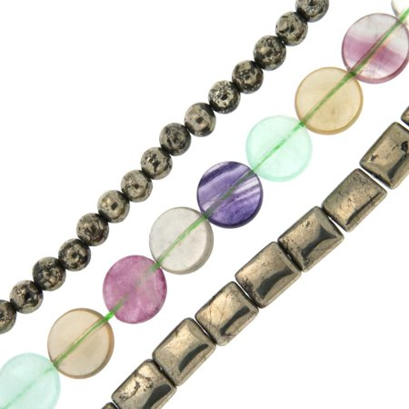 Pearlz Ocean  Fluorite and Pyrite Loose Bead Strands (Set of 3) Jewelry for Womens (Designer 3 Strand)