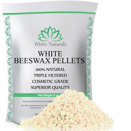 White Beeswax Pellets 8 oz, Pure, Natural, Cosmetic Grade, Bees Wax Pastilles, Triple Filtered, Great For DIY Lip Balms, Lotions, Candles By White