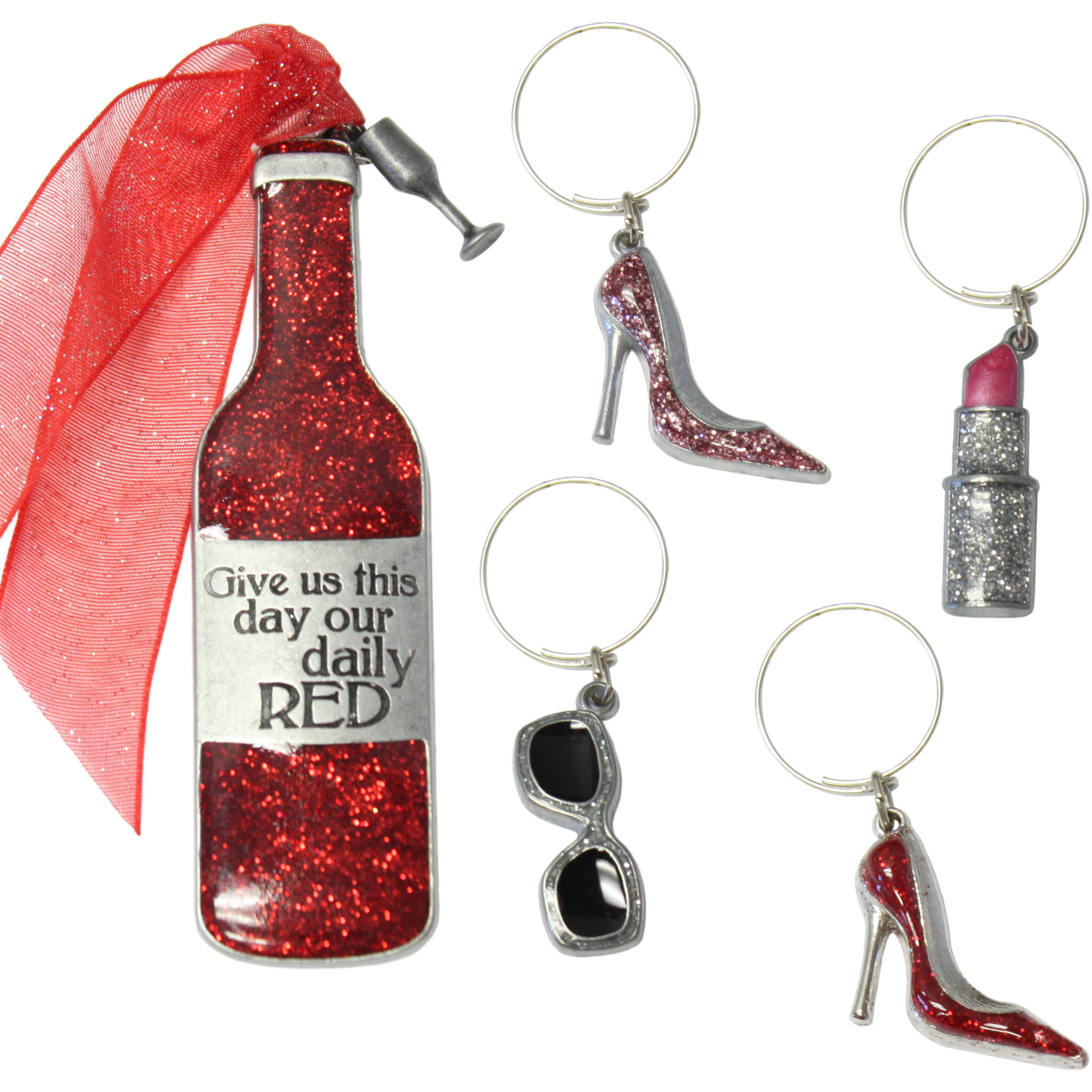 Gloria Duchin Ladies' Night Out Wine Bottle Ornament and Drink Charms Set