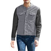 Men's Long Sleeves Stand Collar Buttoned Casual Jacket (Size M / 38)
