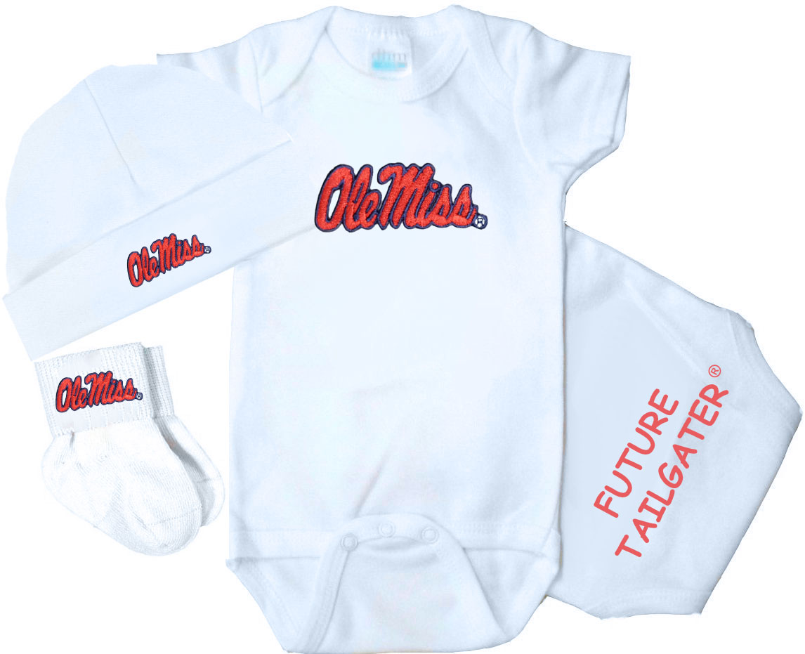 separation shoes f5f89 123db Mississippi Ole Miss Rebel Homecoming 3 Piece Baby Gift Set