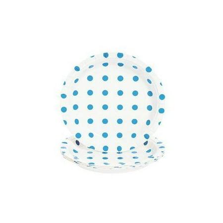 Turquoise Polka Dot Dessert Plates - Wedding Supplies & Reception - Reception Supplies