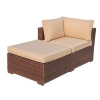 2 Piece Outdoor Patio Furniture Set, All Weather Wicker Patio Sectional Sofa Set with Ottoman,Corner Sofa Chair, Beige