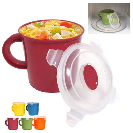 Microwave Food Soup Container Cookware Cup Mug Noodles Bowl Storage Lid BPA Free (Super Bowl Cup)