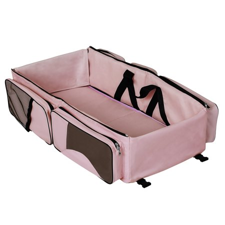 Dream On Me Allea 3 in 1 Diaper bag, Portable Napper and changing Station In Pink And Brown (Diaper Bag Pink And Brown)