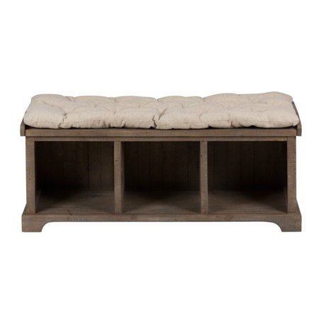 Jofran slater mill pine wood storage living room bench in brown for Living room bench with storage