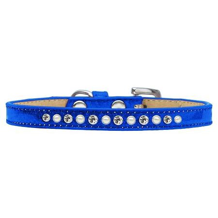 Crystal Collar - mirage 612-04 bl-14 pearl and clear crystal blue puppy ice cream collar - 14