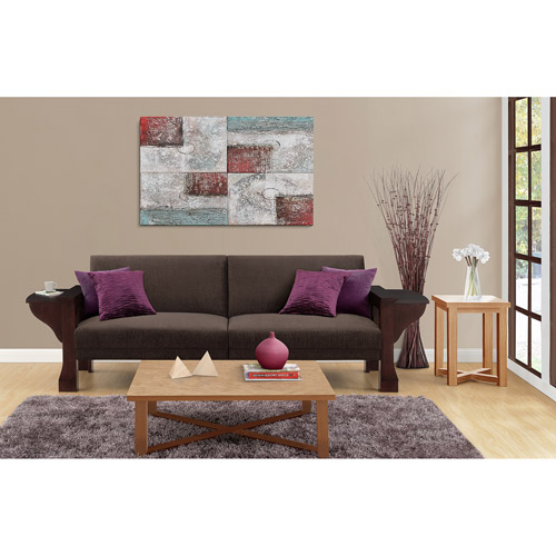 Dorel Home Products Westwood Convertible Sofa Sleeper, Mahogany Wood with Brown Chenille Upholstery