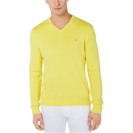 Calvin Klein Mens Ribbed V-Neck Pullover Sweater Silk Blend Pullover Sweater