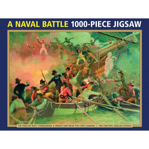 A Naval Battle: 1000-Piece Jigsaw: The English Navy Conquering a French Ship Near the Cape Camaro, C 19th-Century, English School